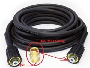 dual M22 fittings for hose connection